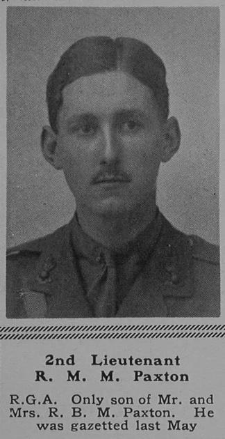 UK Photo Archive: P &emdash; Paxton R M M 2nd Lt Royal Garrison Artillery The Sphere 17th Feb 1917