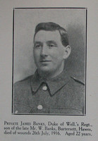 Banks J Pte 5th West Riding Regt Craven Roll Of Honour