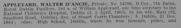 UK Photo Archive: A &emdash; Appleyard W D Pte 14789 7th Royal Dublin Fusiliers Obit Part 1