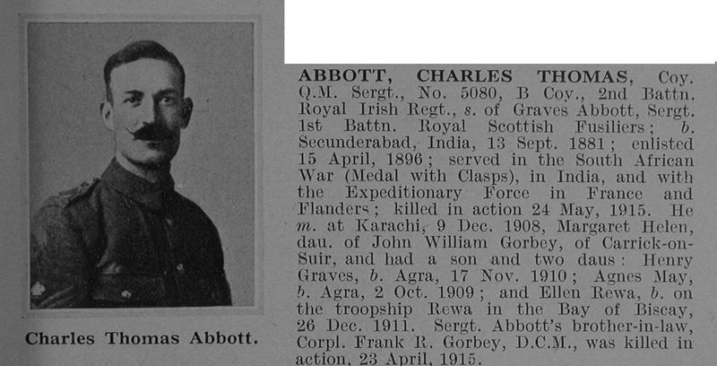 UK Photo Archive: A &emdash; Abbott C T Coy Qtr Mst Sergt 5080 2nd Royal Irish Regiment Obit De Ruvignys Roll Of Honour Vol 1