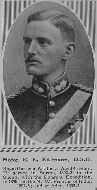 UK Photo Archive: E &emdash; Edlmann E E Major DSO Royal Garrison Artillery The Sphere 15th May 1915