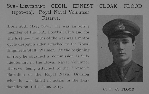 UK Photo Archive: Dulwich College War Record 1914-1919 &emdash; Flood C E C Sub Lt Anson Bn. R.N. Div. Royal Naval Volunteer Reserve Obit Dulwich College Roll Of Honour