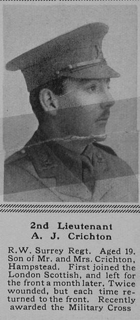 UK Photo Archive: C &emdash; Crichton A J 2nd Lt MC 1st The Queen's (Royal West Surrey Regiment) The Sphere 23rd Sep 1916