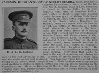 Jackson H A L C Lt 10th CEF Obit De Ruvignys Roll Of Honour Vol 3