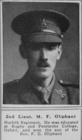 Oliphant M F 2nd Lt 5th Norfolk Regiment The Sphere 20th Mar 1919