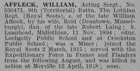 Affleck W Acting Sergt 9th Royal Scots Obit De Ruvignys Roll Of Honour Vol 4