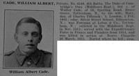 Cade W A Pte 6548 4th Middlesex Regiment Obit De Ruvignys Roll Of Honour Vol 5