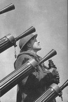 Leading Seaman R Powell With Anti Aircraft Guns On A Minesweeper
