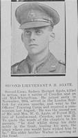 Agate S H 2nd Lt 4th Beds Regt Croydon Roll Of Honour