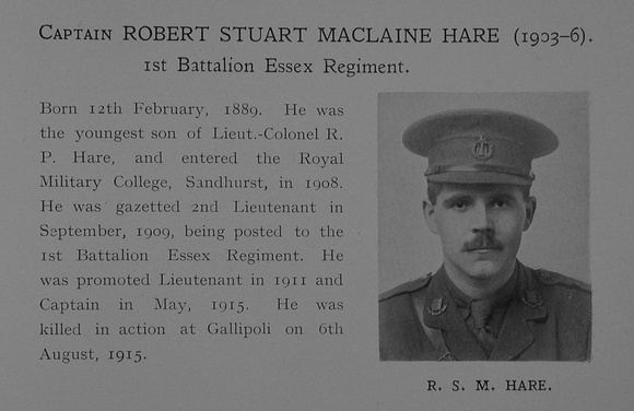 UK Photo Archive: Dulwich College War Record 1914-1919 &emdash; Hare R S M Captain 1st Essex Regiment Obit Dulwich College Roll Of Honour