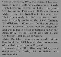 Baddeley E L Major 8th Lancashire Fusiliers Obit Part 3 The Bond Of Sacrifice Vol 2