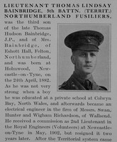 Bainbridge T L Lt 5th Northumberland Fusiliers Obit Part 1 The Bond Of Sacrifice Vol 2